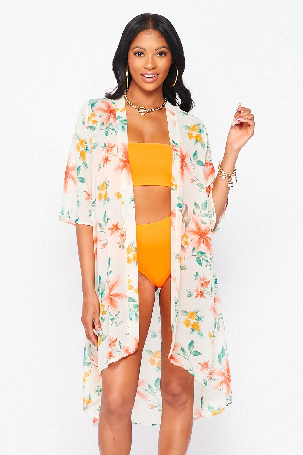 Floral Print Swimsuit Cover Up in Ivory and Yellow