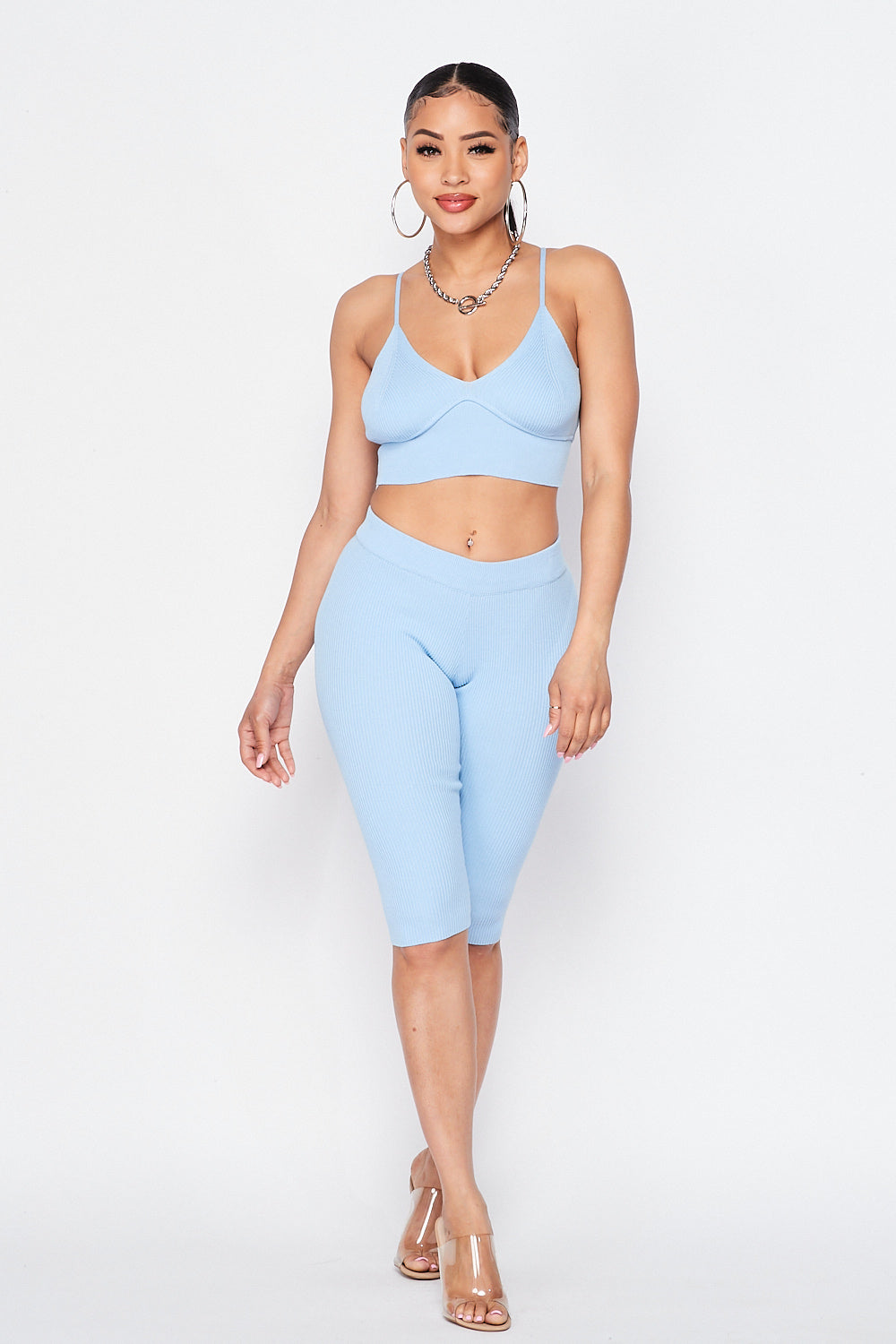 Spaghetti Strap Crop Top and Biker Shorts Set in Blue / Pink - Fashion House USA
