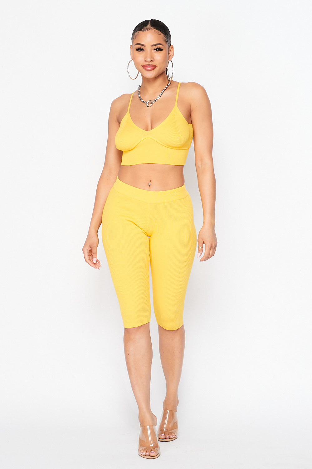 Spaghetti Strap Crop Top and Biker Shorts Set in H. Grey / Yellow - Fashion House USA