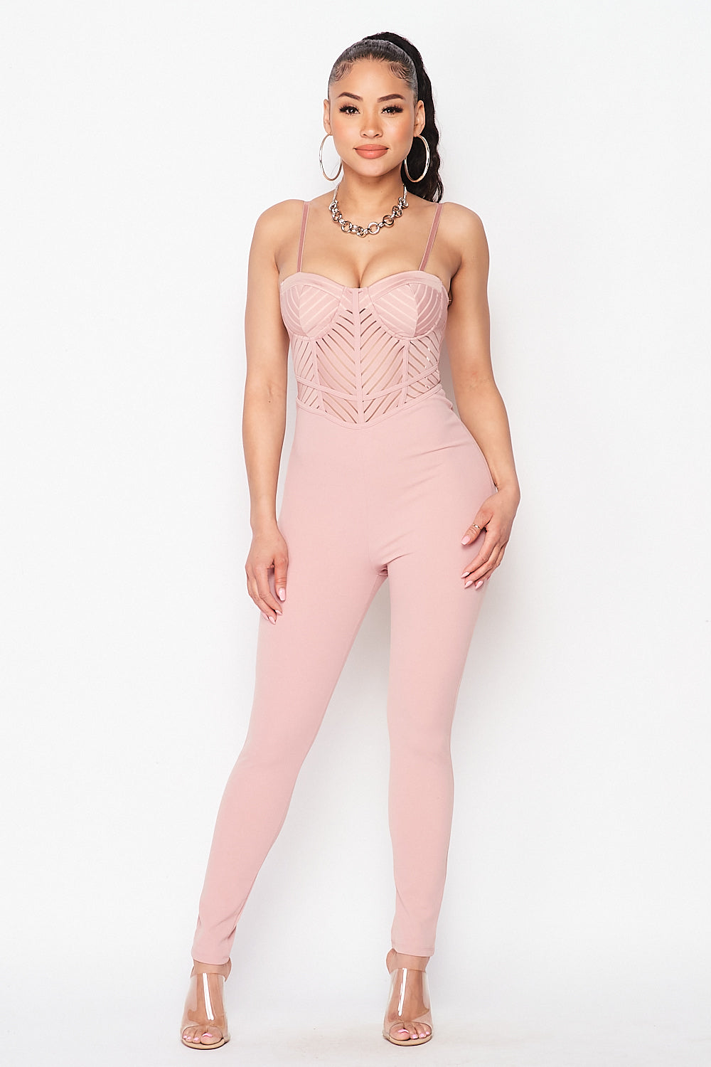 Spaghetti Strap Bra Cup Corset Detail Jumpsuit in Nude - Fashion House USA