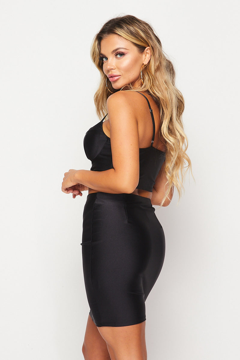 Super Stretch Bustier Skirt Sets-BLACK - Fashion House USA