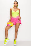 Classic V-Neck Bodysuit-NEON YELLOW - Fashion House USA