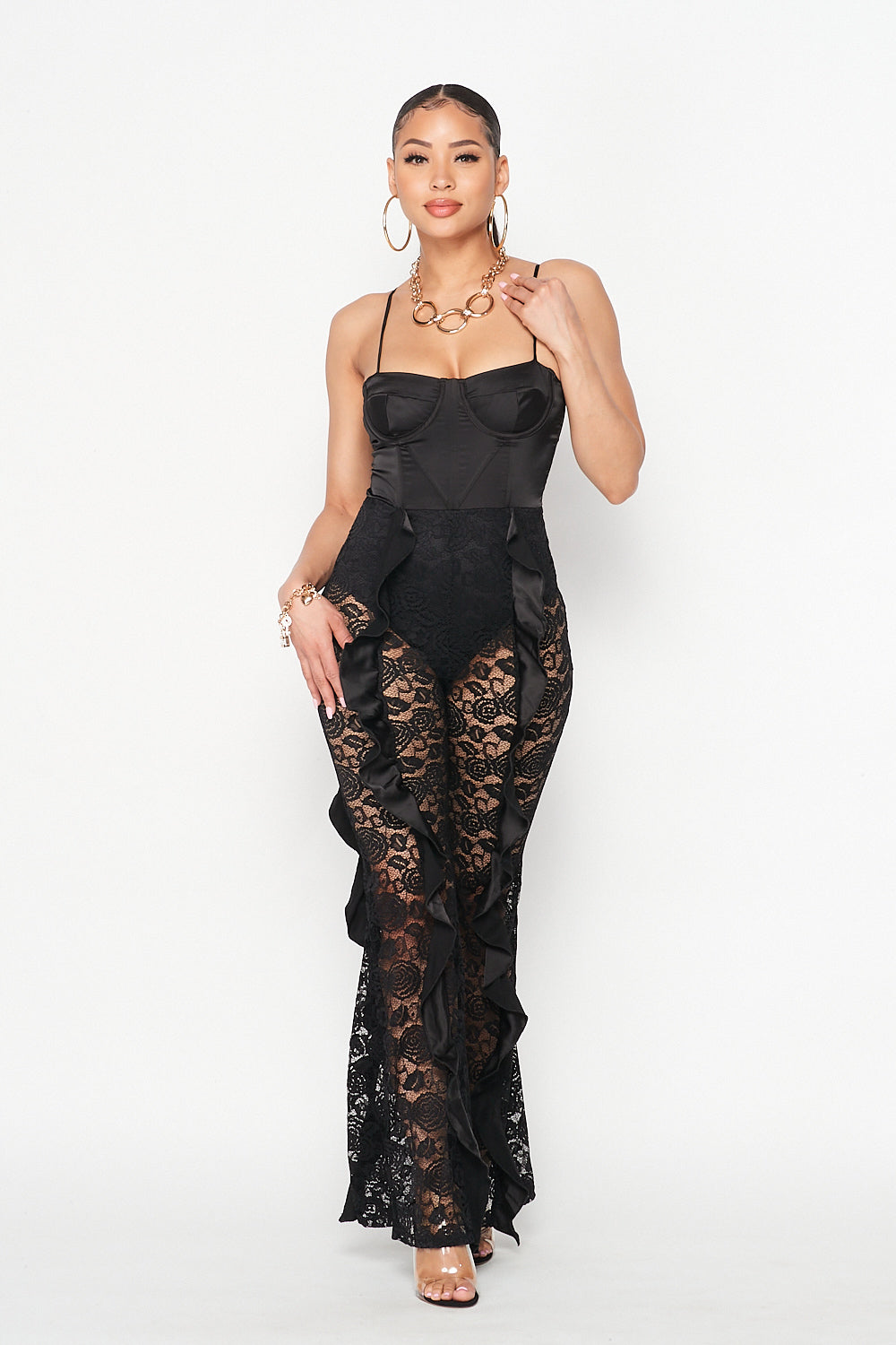 Spaghetti Strap Cami with Lace Pants Jumpsuit