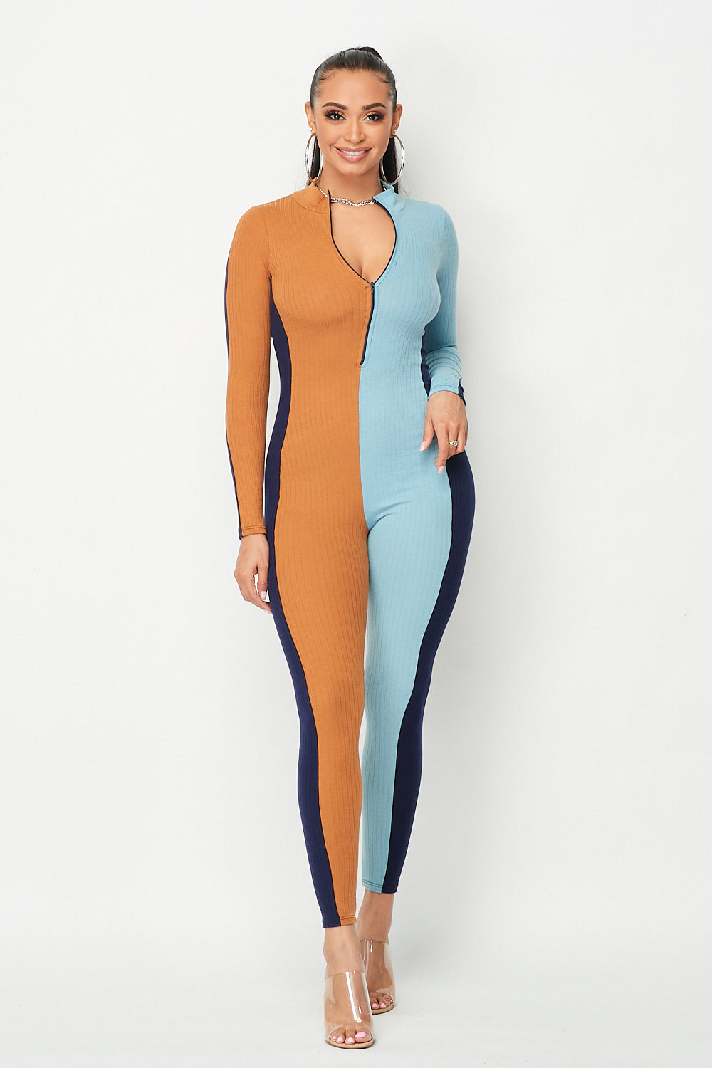 Color Block Long Sleeve Vertical Jumpsuit - Fashion House USA