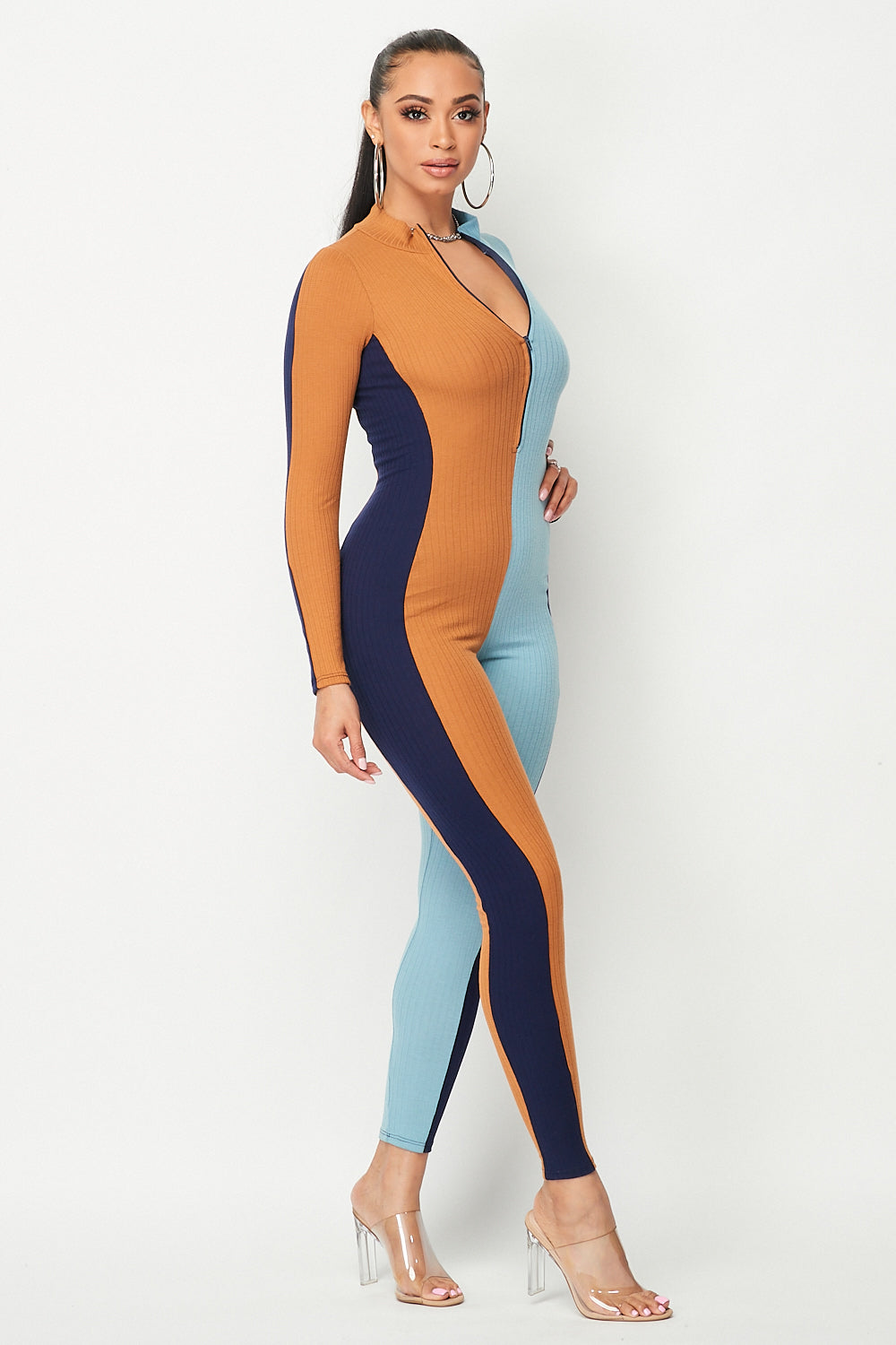 Color Block Long Sleeve Vertical Jumpsuit