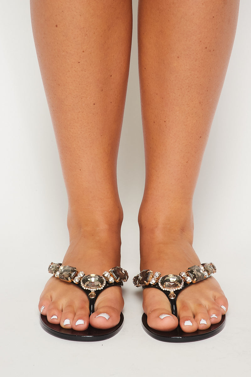 Clear Jewel Thong Sandal - Fashion House USA