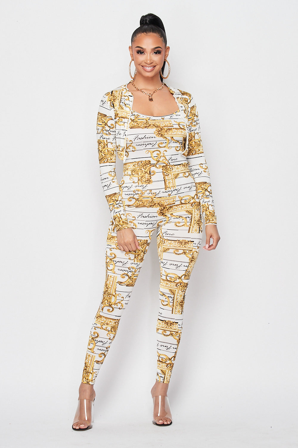 Gold Frame Detailed Jumpsuit with Jacket Set in White - Fashion House USA