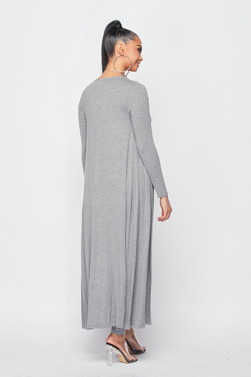 Jumpsuit with Long Cardigan Set in H.Grey - Fashion House USA