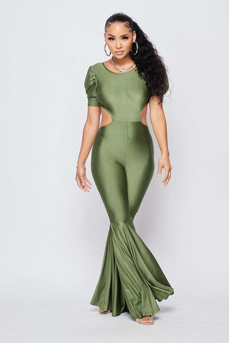 Sexy Open Back Bell Bottom Jumpsuit-OLIVE - Fashion House USA