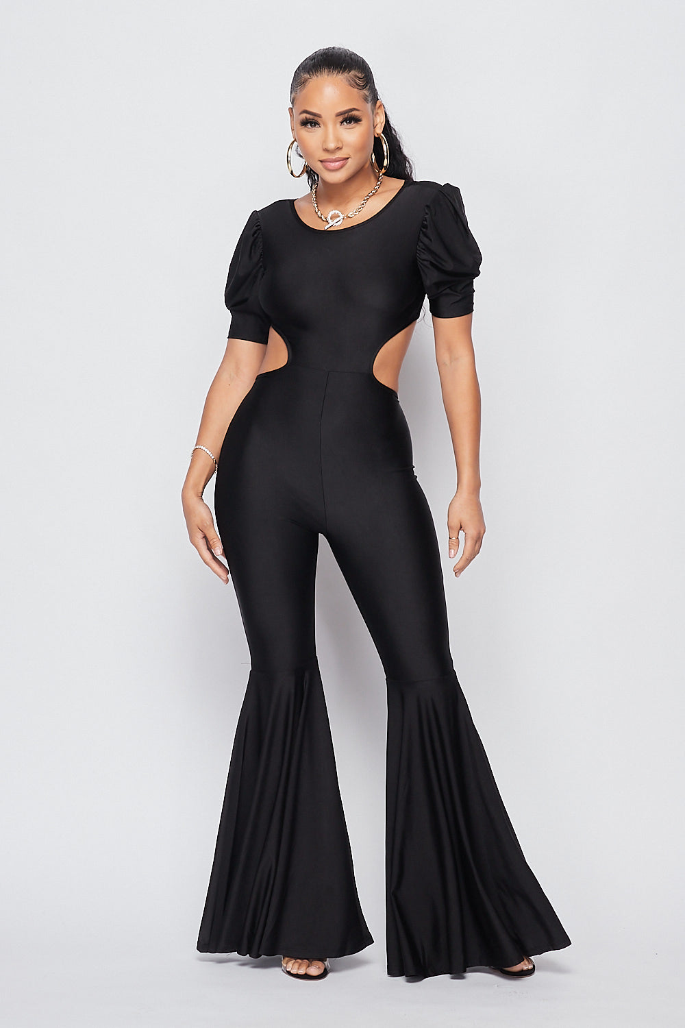 Sexy Open Back Bell Bottom Jumpsuit-BLACK - Fashion House USA