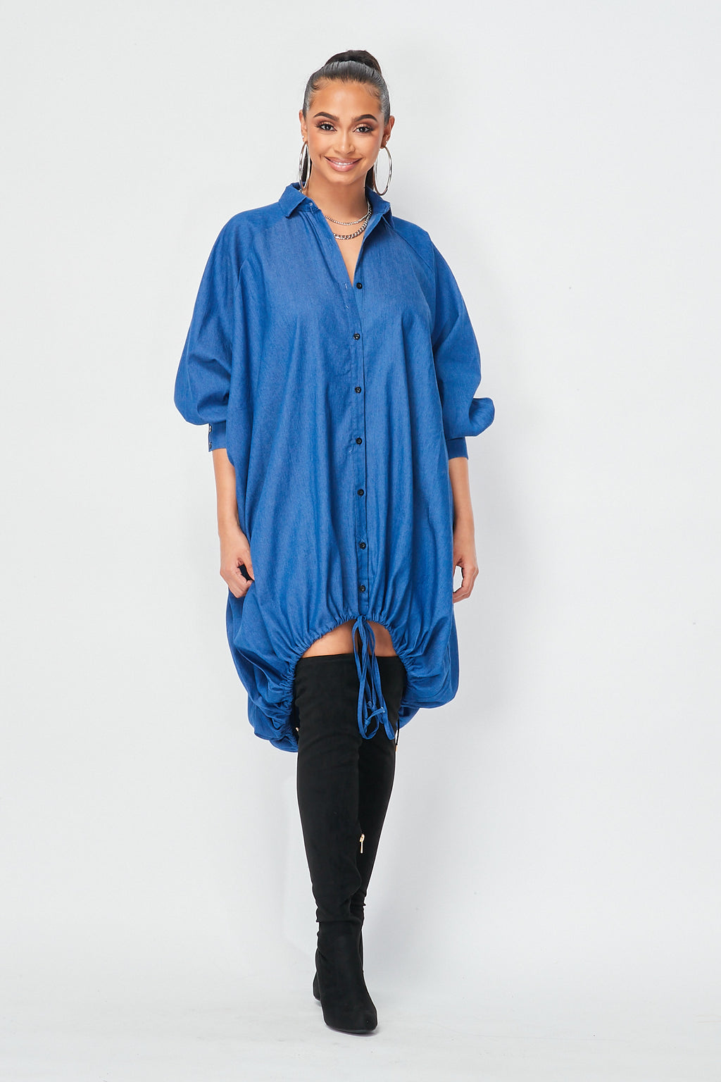Oversized Denim Shirts Dress