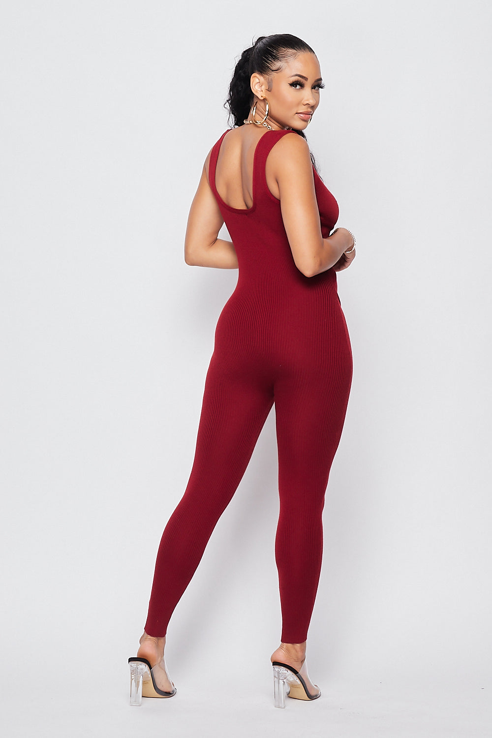 Hold Me Knit Jumpsuit-BURGUNDY - Fashion House USA