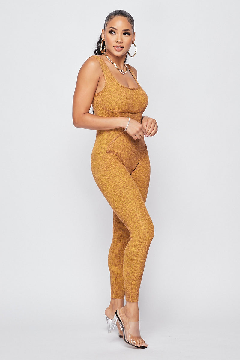 Hold Me Knit Jumpsuit-MUSTARD - Fashion House USA