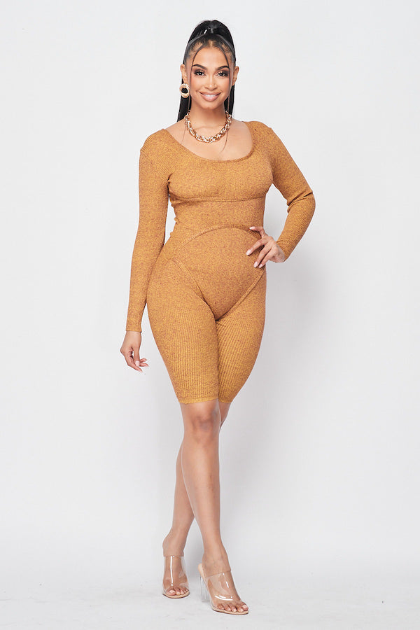 Hold Me Knit Romper in Mustard - Fashion House USA