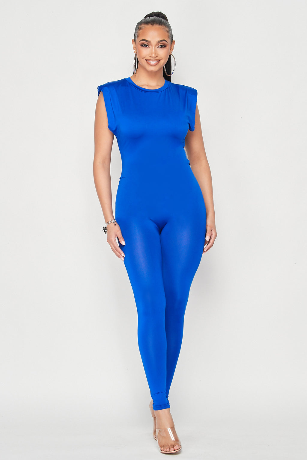Power Shoulder Sleeveless Jumpsuit in Royal