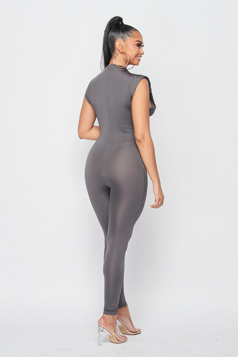 Power Shoulder Sleeveless Jumpsuit in Charcoal - Fashion House USA