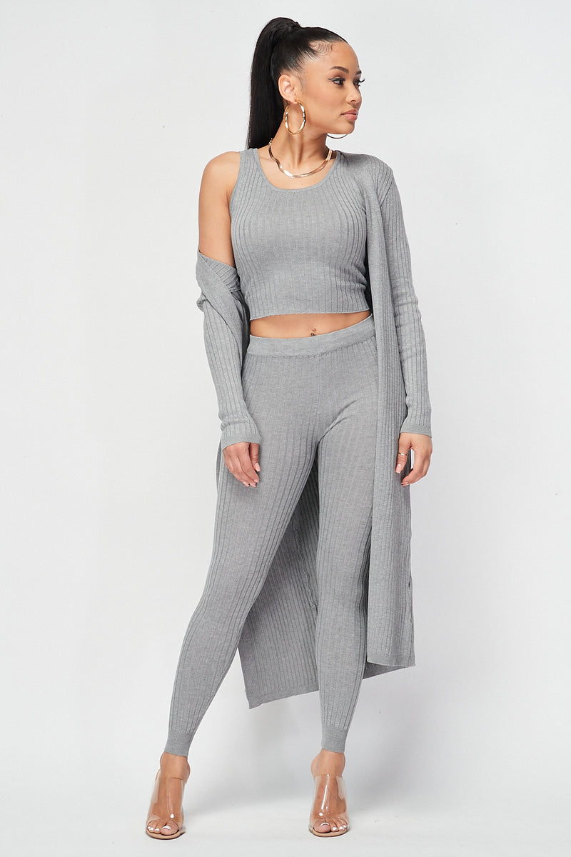 Ribbed Crop Top and Tank Top and Cardigan 3pc Set in Grey - Fashion House USA