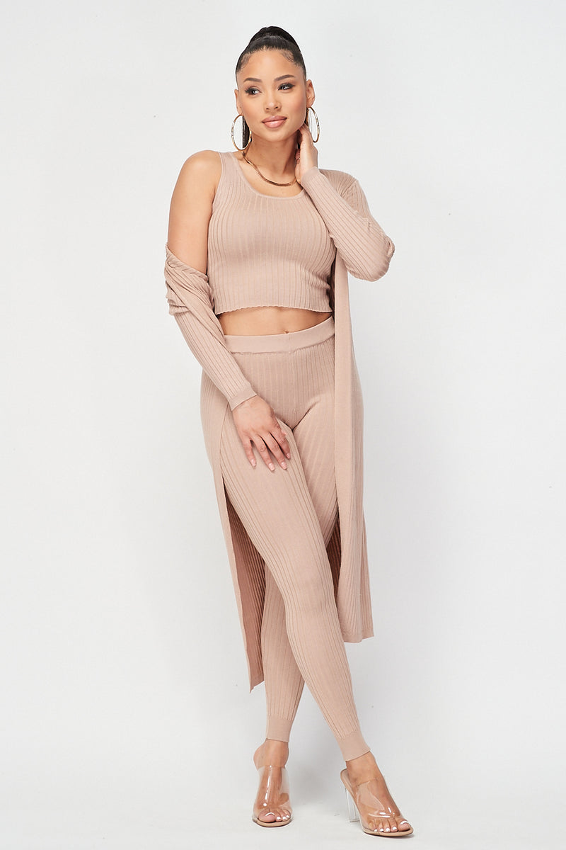 Ribbed Crop Top and Tank Top and Cardigan 3pc Set in Beige - Fashion House USA