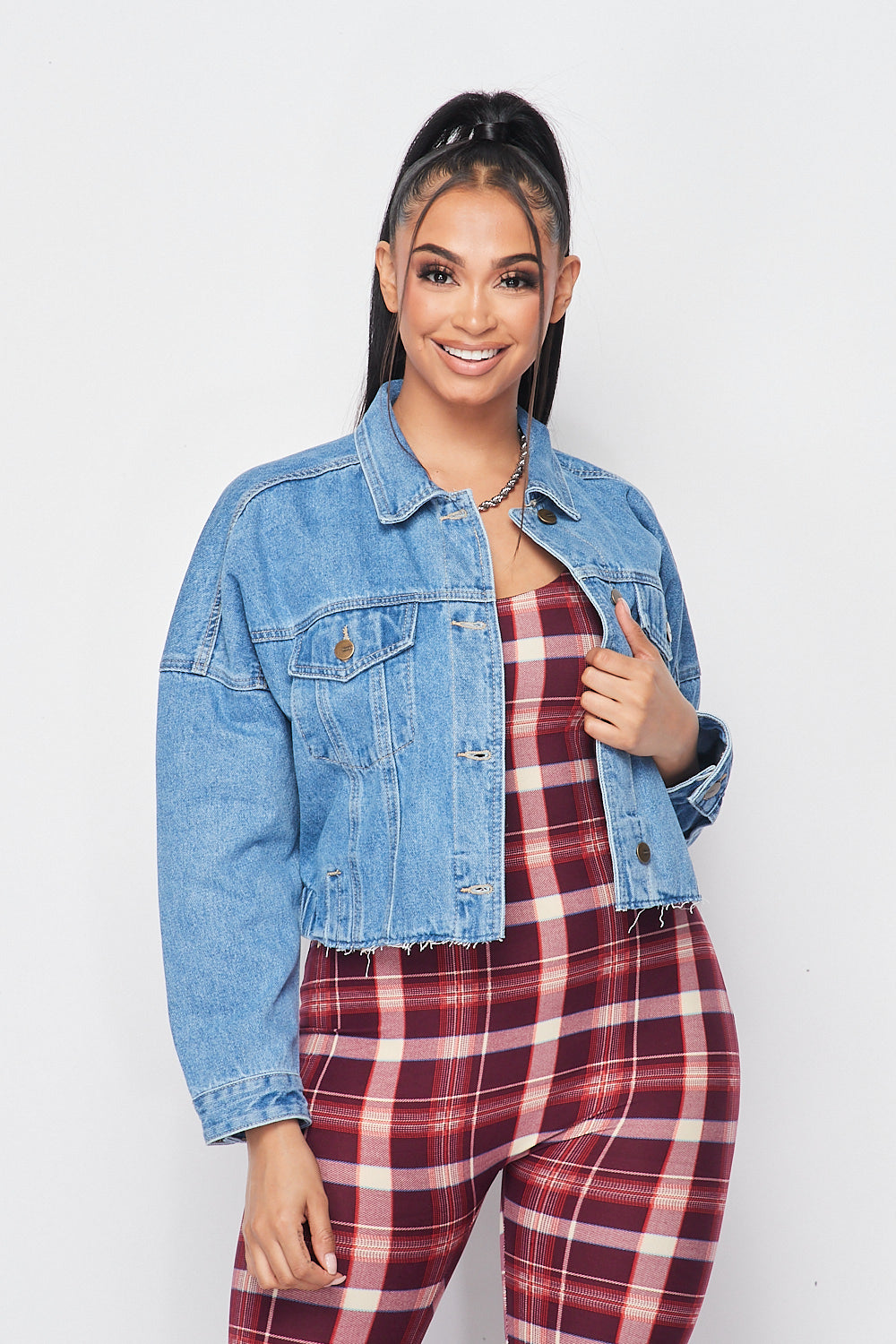 Denim Jacket with Raw Cut - Fashion House USA