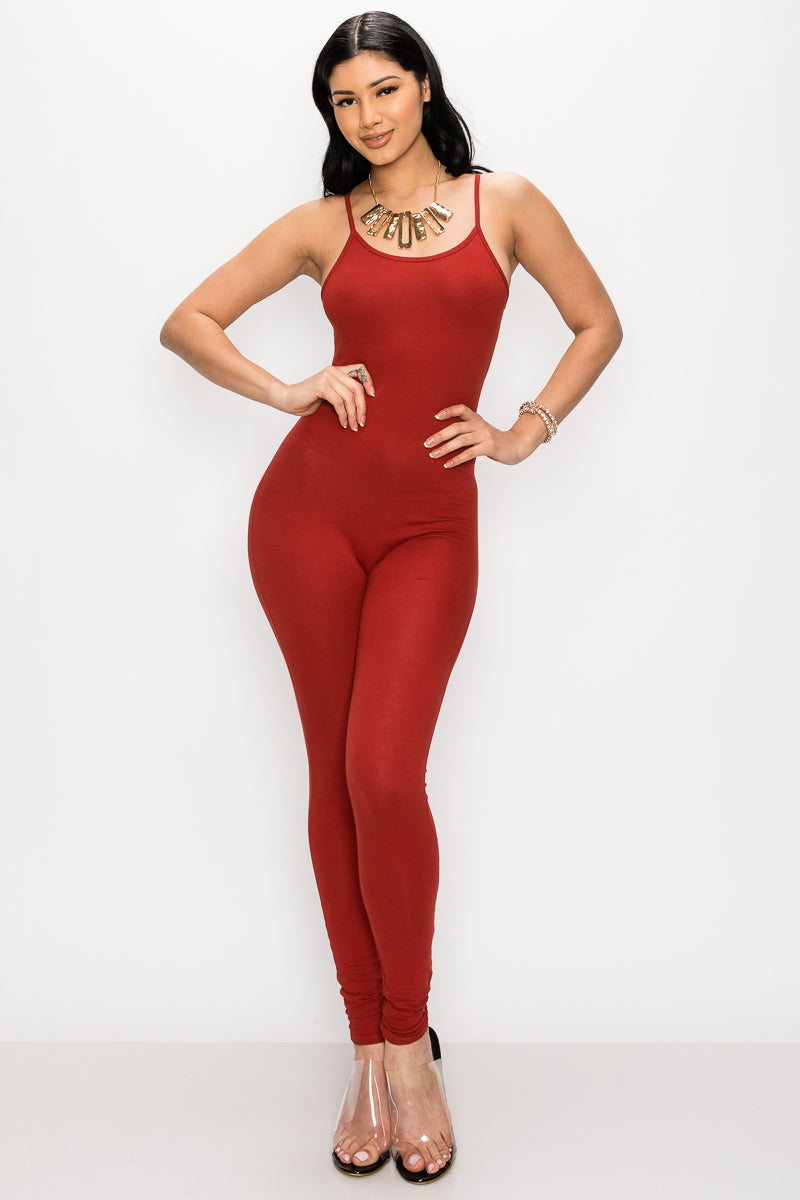 Classic Selfie Jumpsuit-RUST - Fashion House USA