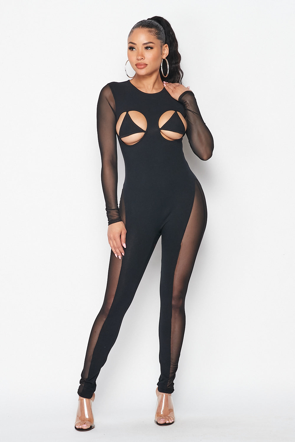 Baddies Only Mesh Sleeve Triangle Bikini Jumpsuit in Black - Fashion House USA