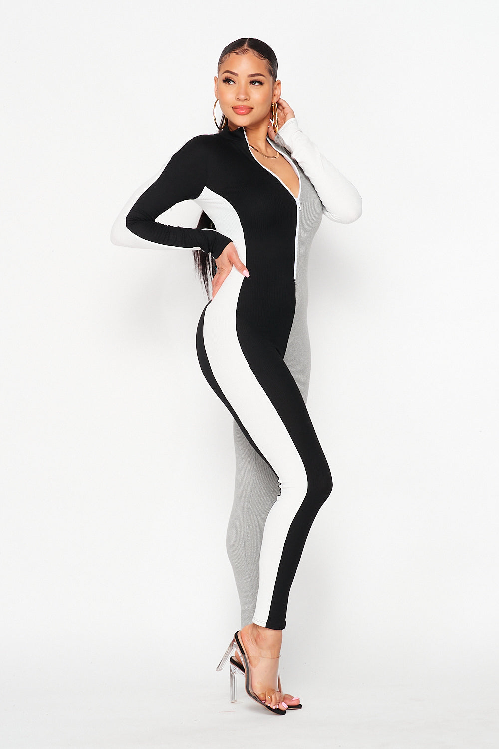 Color Block Long Sleep Vertical Jumpsuit in Black/H.Grey/White