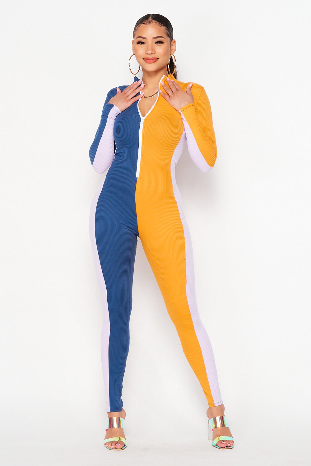 Color Block Long Sleep Vertical Jumpsuit in Denim/Mustard/Lavender - Fashion House USA