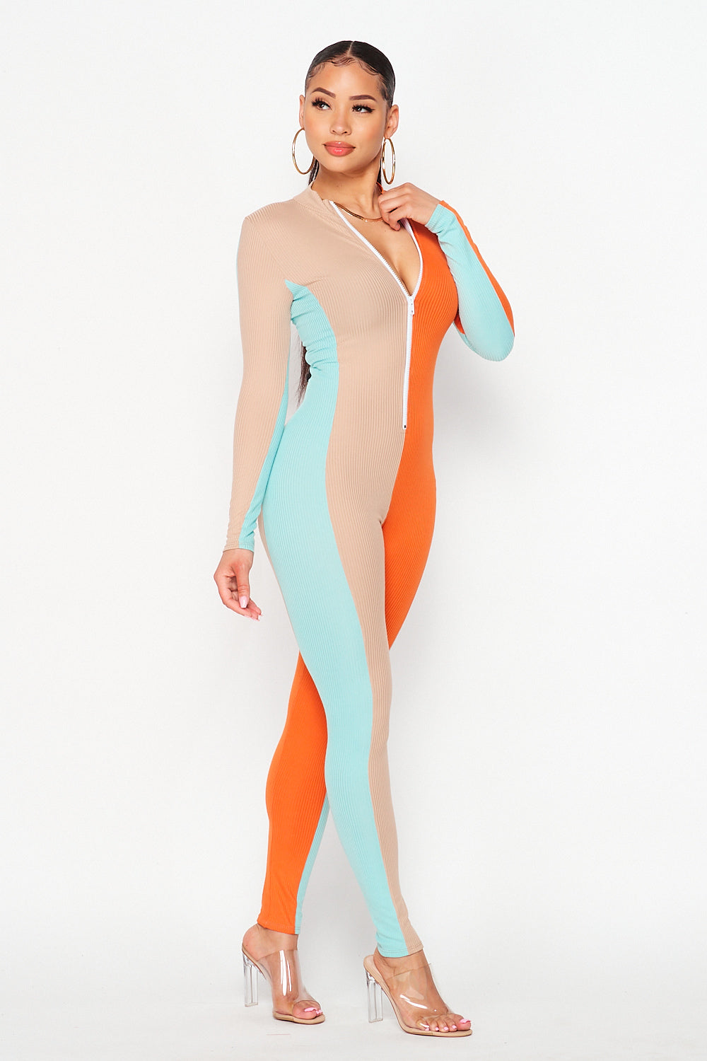 Color Block Long Sleep Vertical Jumpsuit in Taupe/Orange/Sage