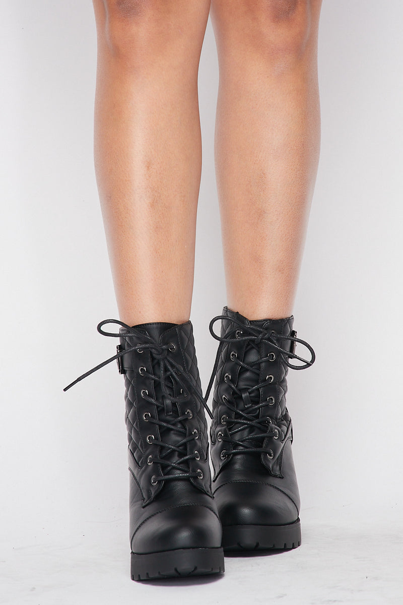 Quilted Lace Up Booted Heels in Black - Fashion House USA