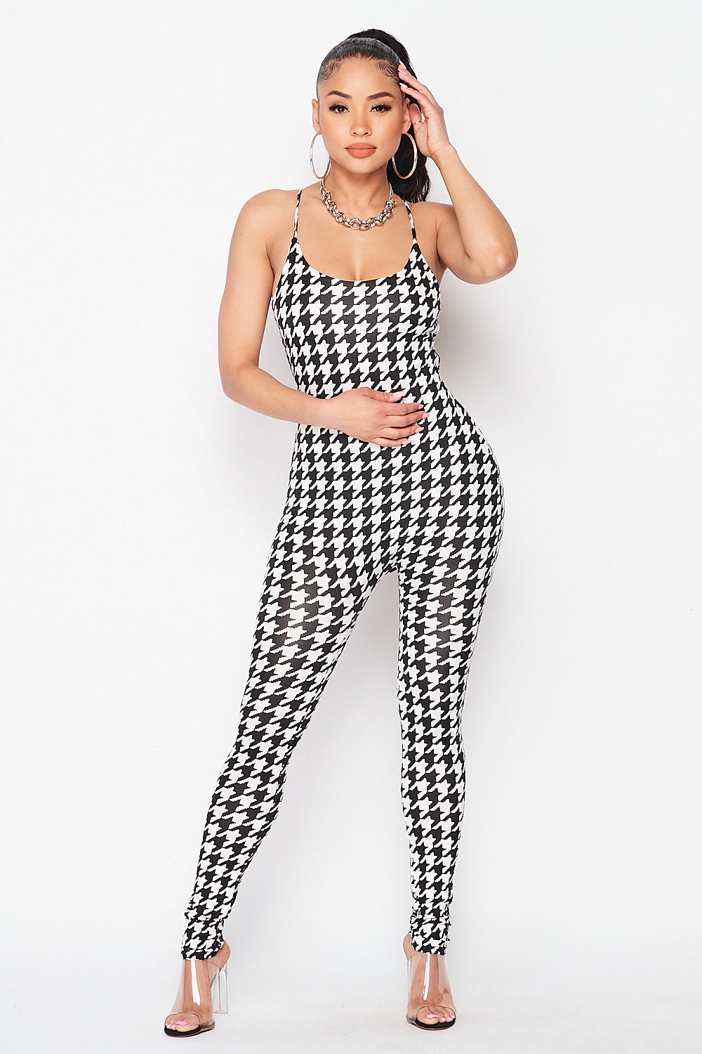 Houndstooth Spaghetti Strap Jumpsuit with Open Back Detail - Fashion House USA