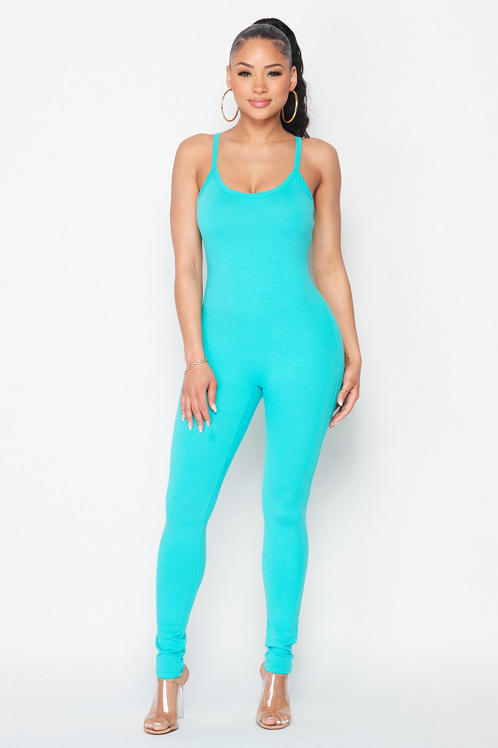 Essentials Spaghetti Strap Jumpsuit in Mint - Fashion House USA