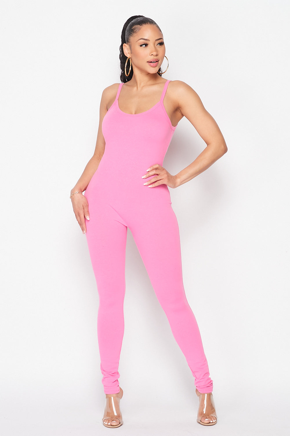 Essentials Spaghetti Strap Jumpsuit in Pink - Fashion House USA