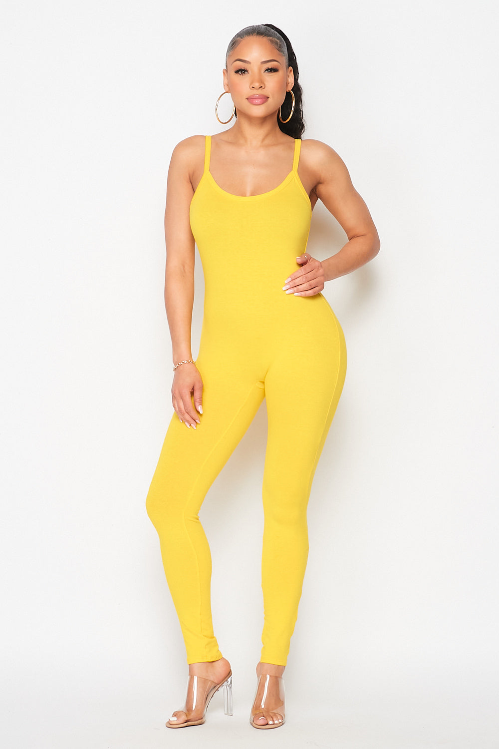 Essentials Spaghetti Strap Jumpsuit in Yellow - Fashion House USA