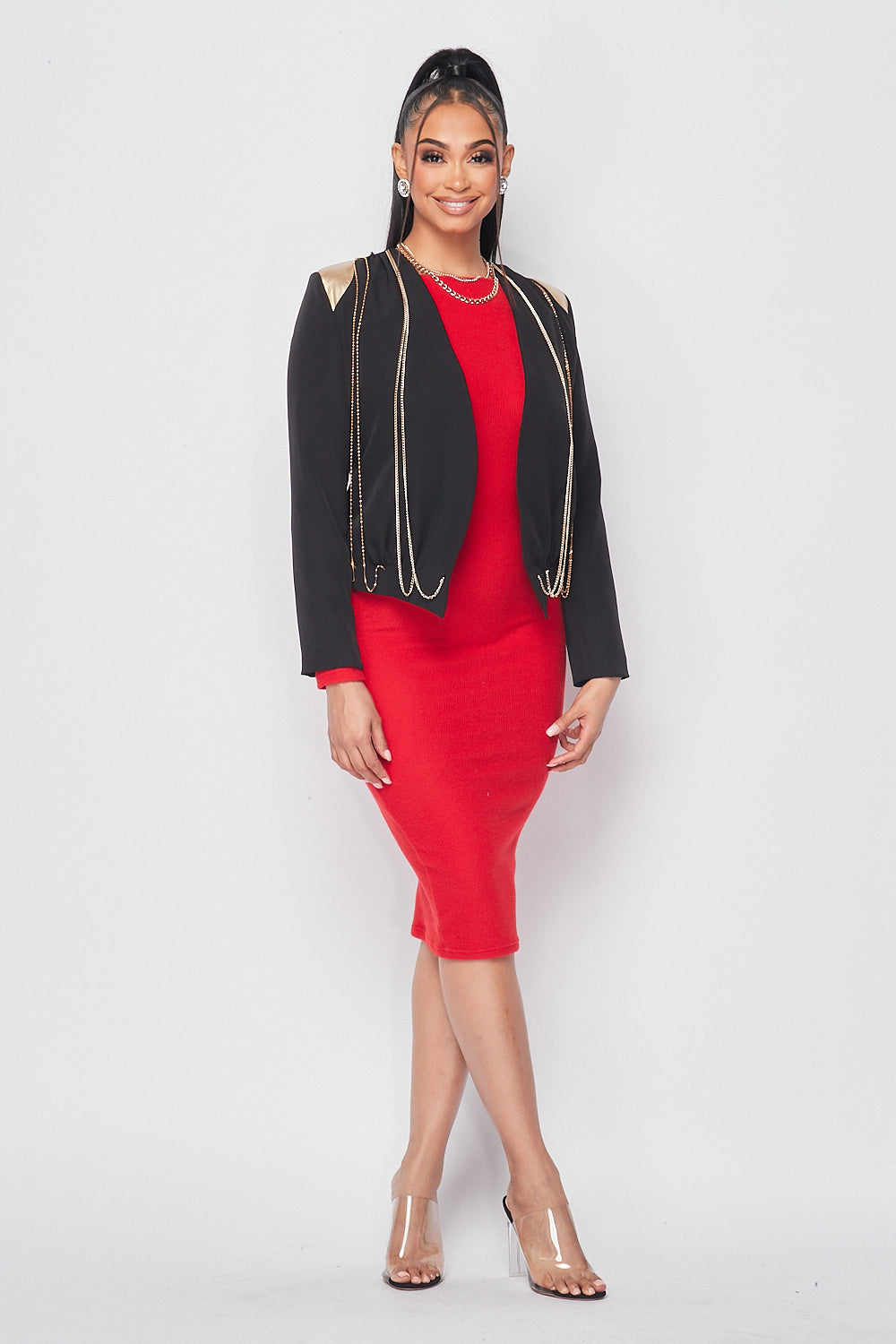 Collarless Chain Blazer in Black - Fashion House USA