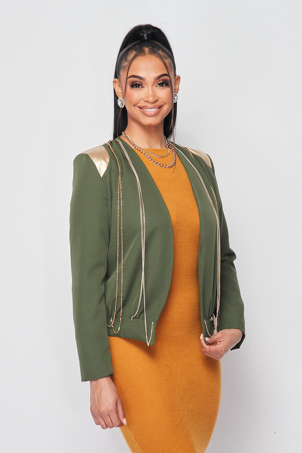 Collarless Chain Blazer in Olive - Fashion House USA