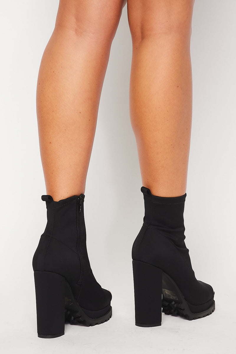Cut Out Platform Bootie Heel - Fashion House USA