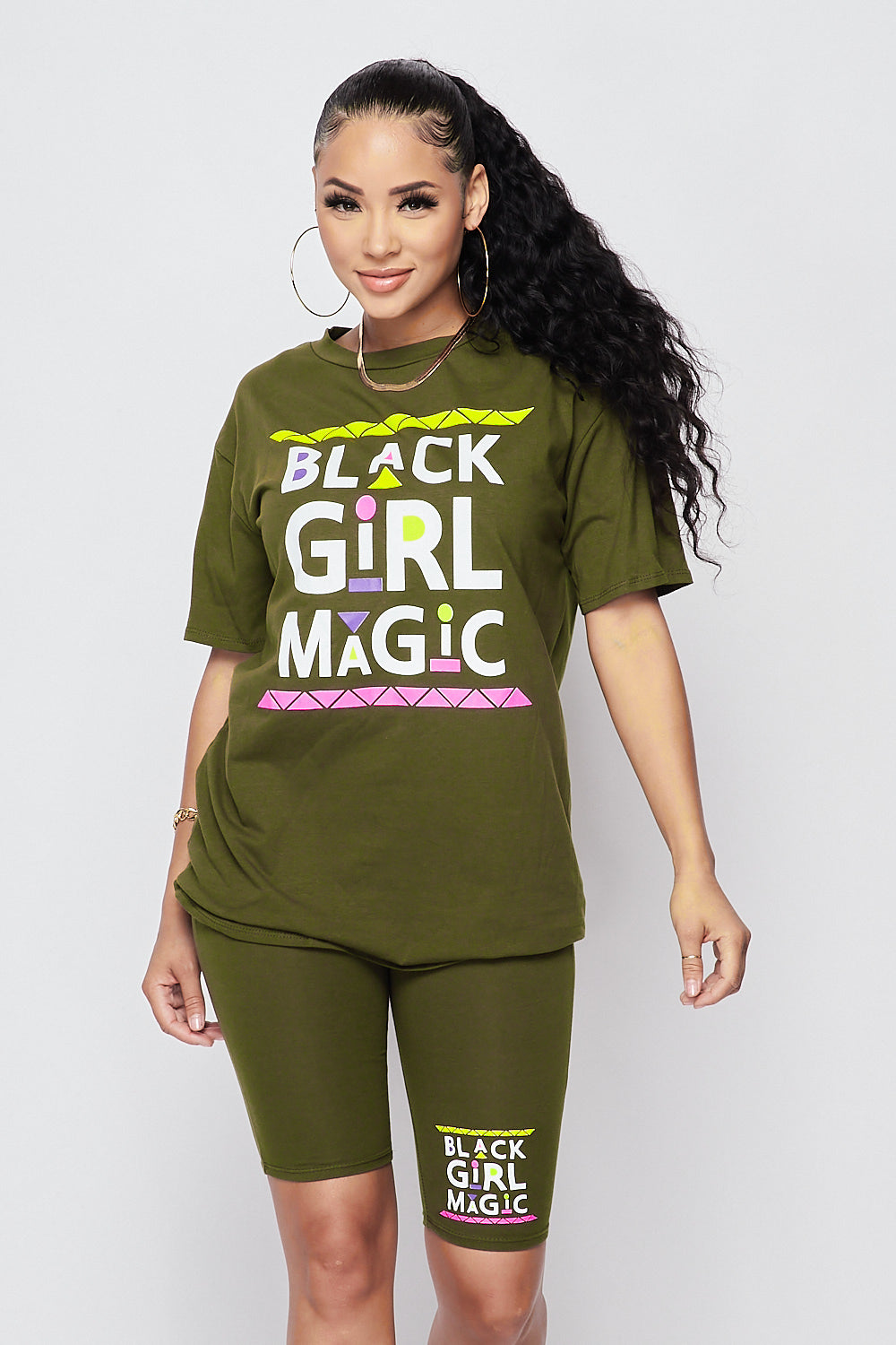 Sexy 2pc Black Girl Magic Set Over sized T-Shirts w/ Biker Short-OLIVE - Fashion House USA