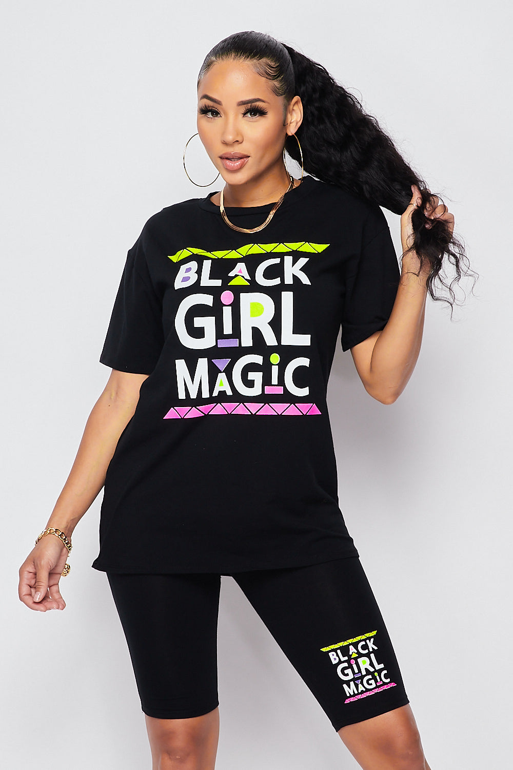 Sexy 2pc Black Girl Magic Set Over sized T-Shirts w/ Biker Short-BLACK - Fashion House USA