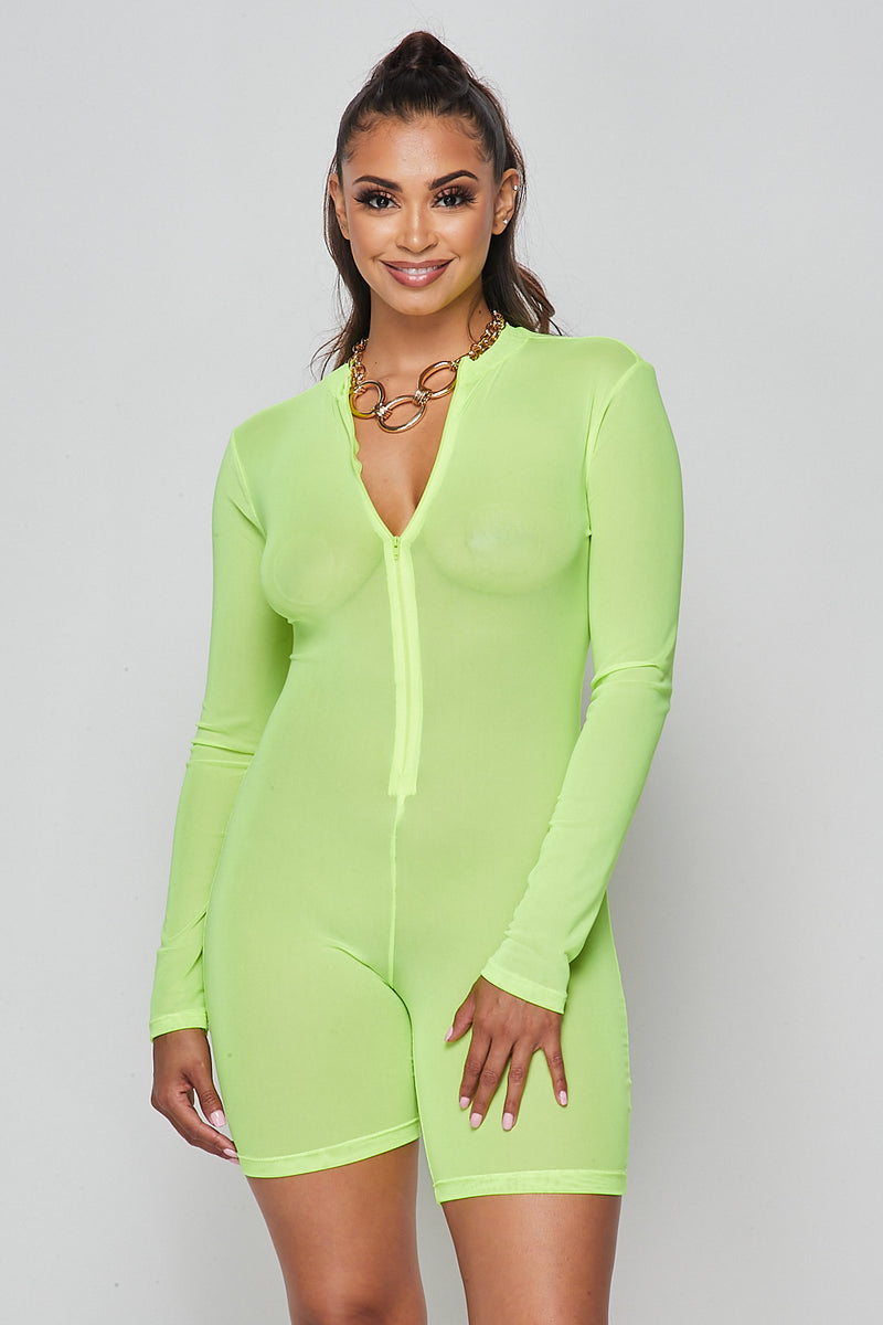 Sexy Solid Deep V-Neck Long Sleeve Mesh Romper-NEON YELLOW - Fashion House USA
