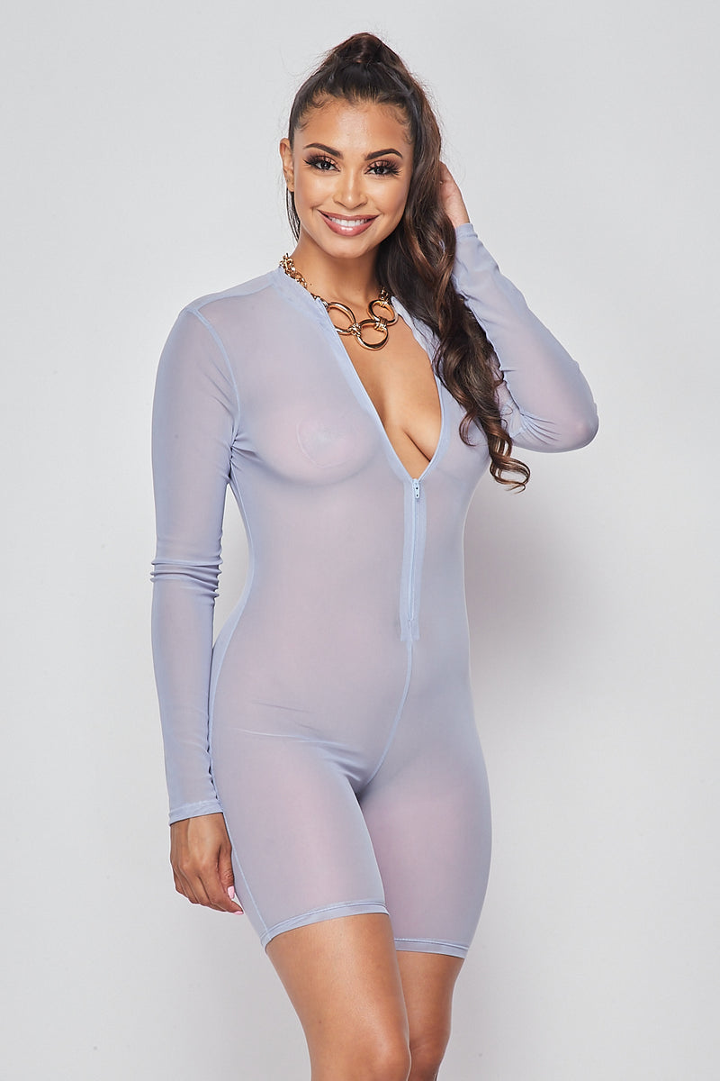 Sexy Solid Deep V-Neck Long Sleeve Mesh Romper-CHAMBRAY BLUE - Fashion House USA