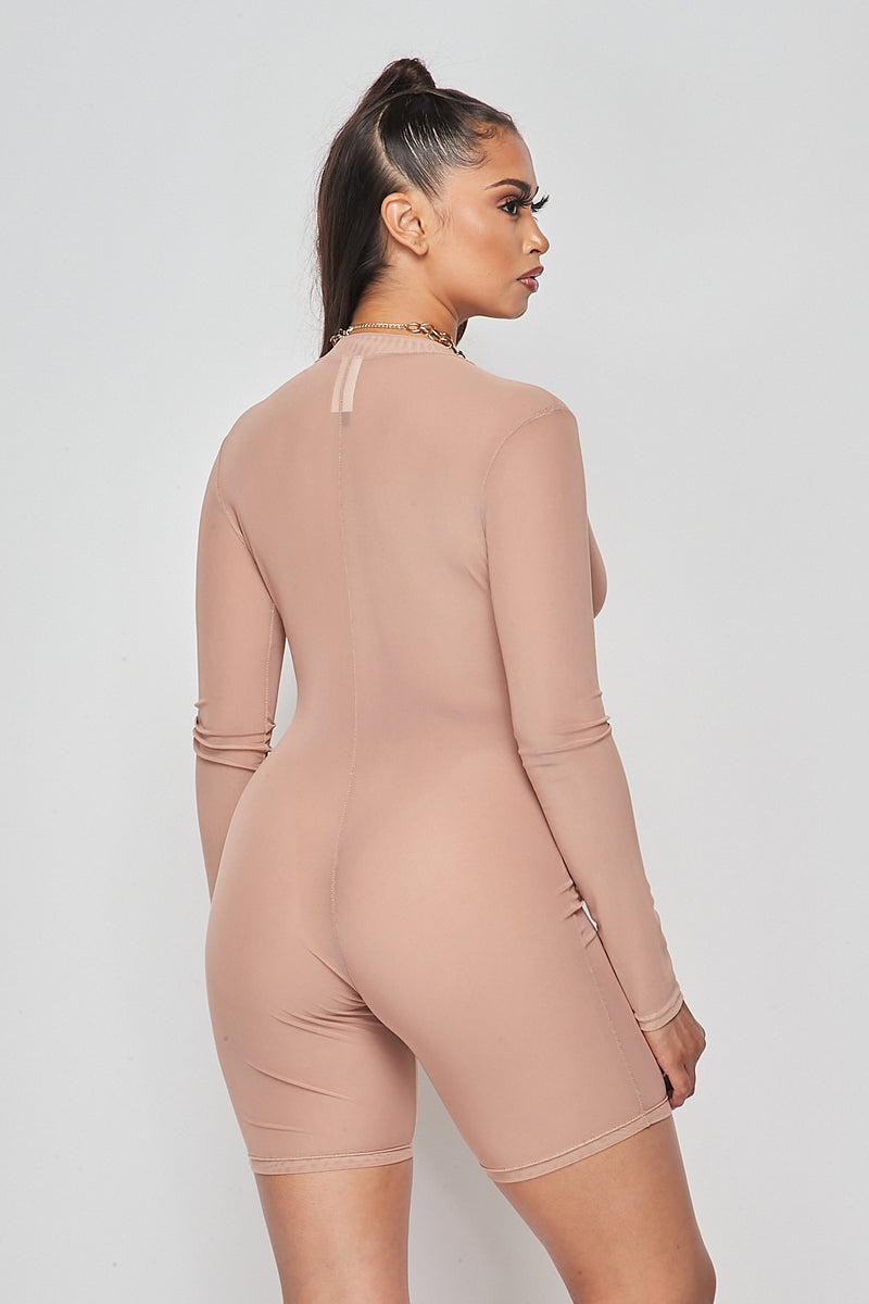 Sexy Solid Deep V-Neck Long Sleeve Mesh Romper-NUDE - Fashion House USA