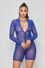 Sexy Solid Deep V-Neck Long Sleeve Mesh Romper-ROYAL - Fashion House USA