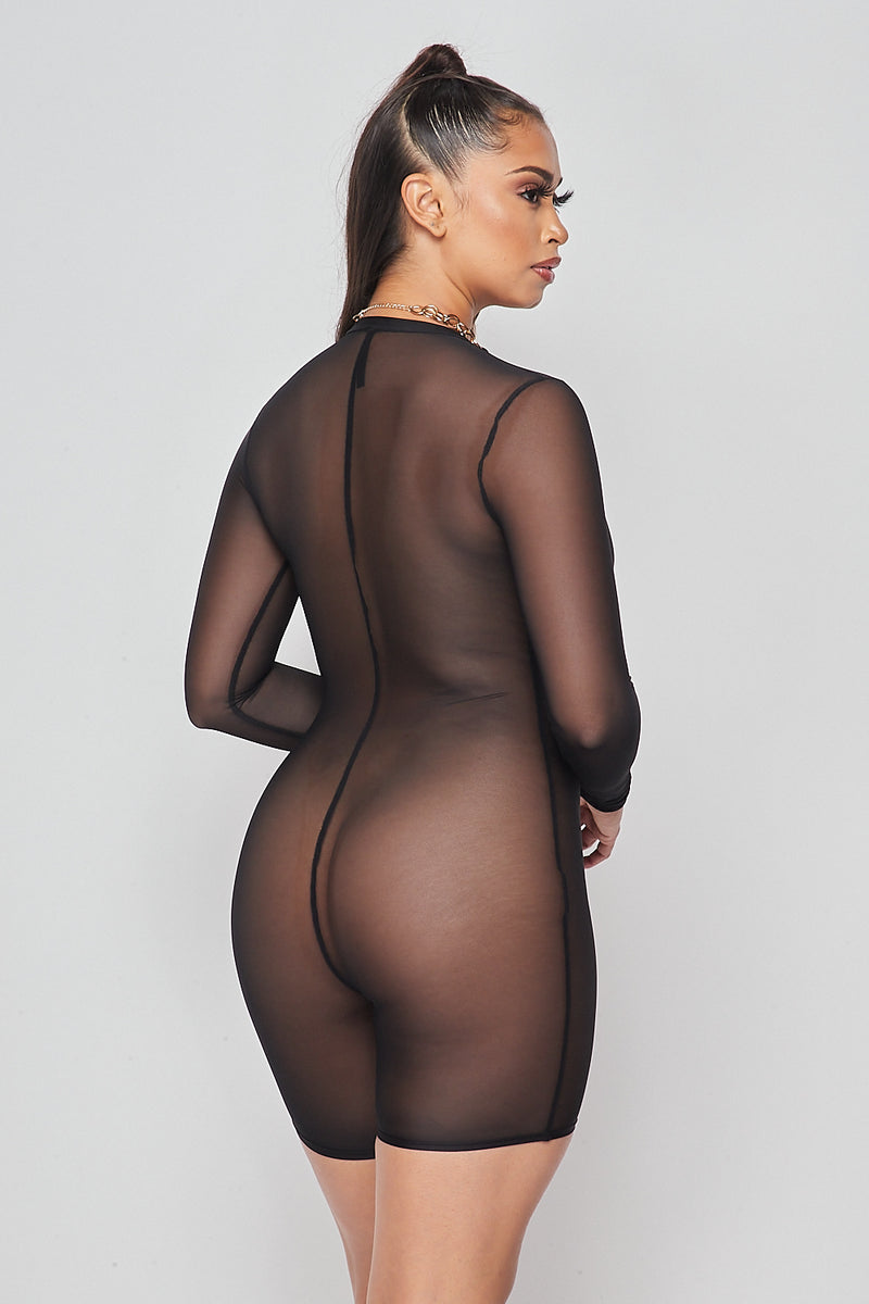 Sexy Solid Deep V-Neck Long Sleeve Mesh Romper-BLACK - Fashion House USA