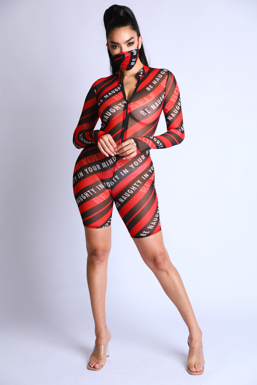 Sexy Be Naughty Print V-Neck Long Sleeve Mesh Romper w/mask - Fashion House USA