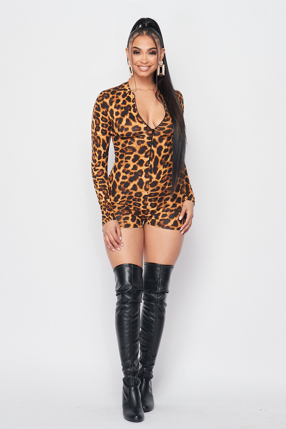 Long Sleeve Leopard Romper with front Zipper Detail - Fashion House USA