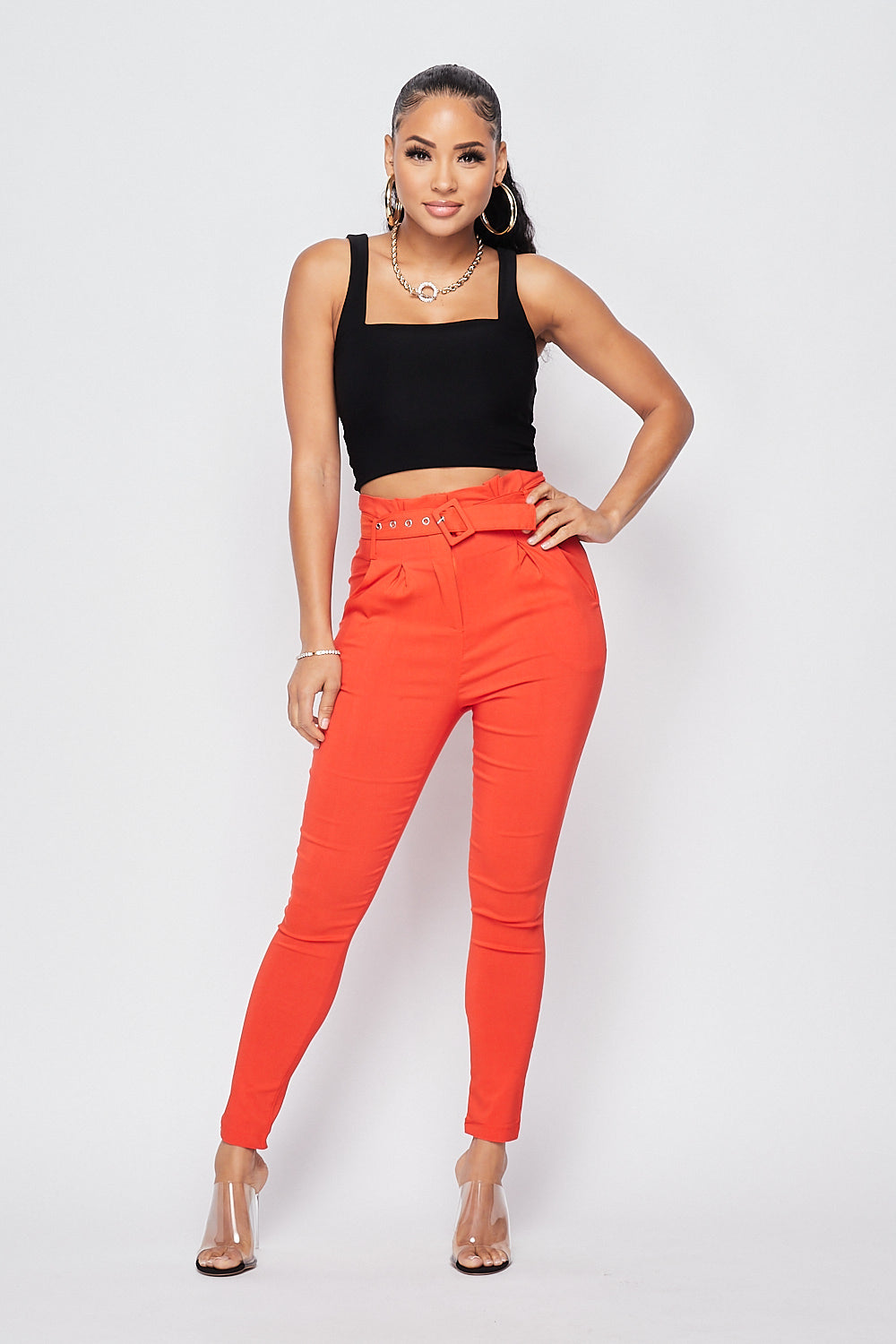 Sexy Belted High Waist Ankle Pants-ORANGE - Fashion House USA
