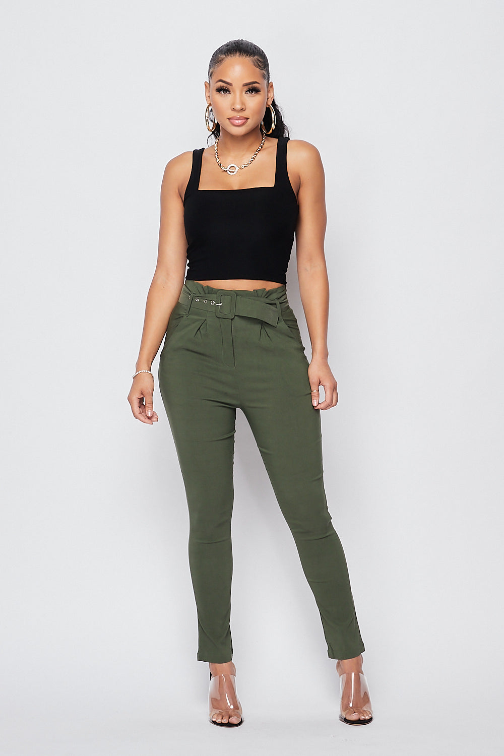 Sexy Belted High Waist Ankle Pants-OLIVE - Fashion House USA