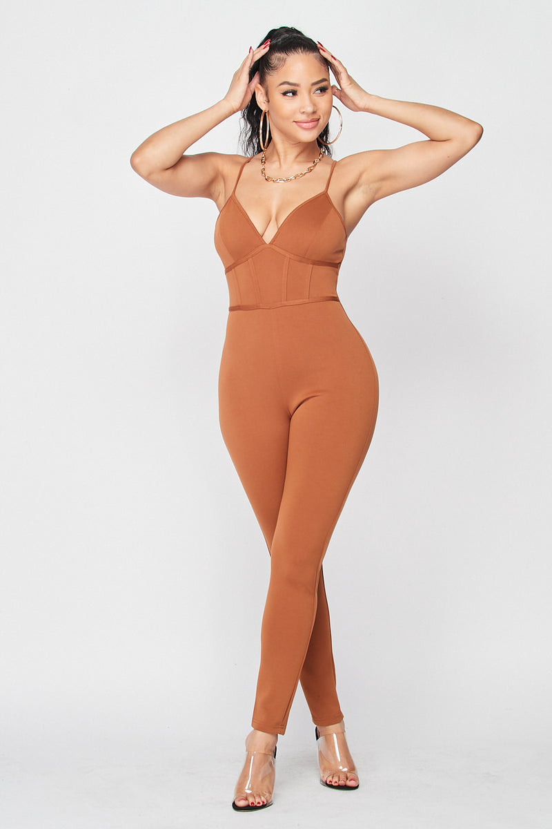 Spaghetti Strap Empire Lined Jumpsuit in Dark Camel - Fashion House USA