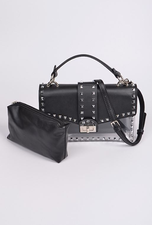 Studded Up Clear Bag - Black - Fashion House USA