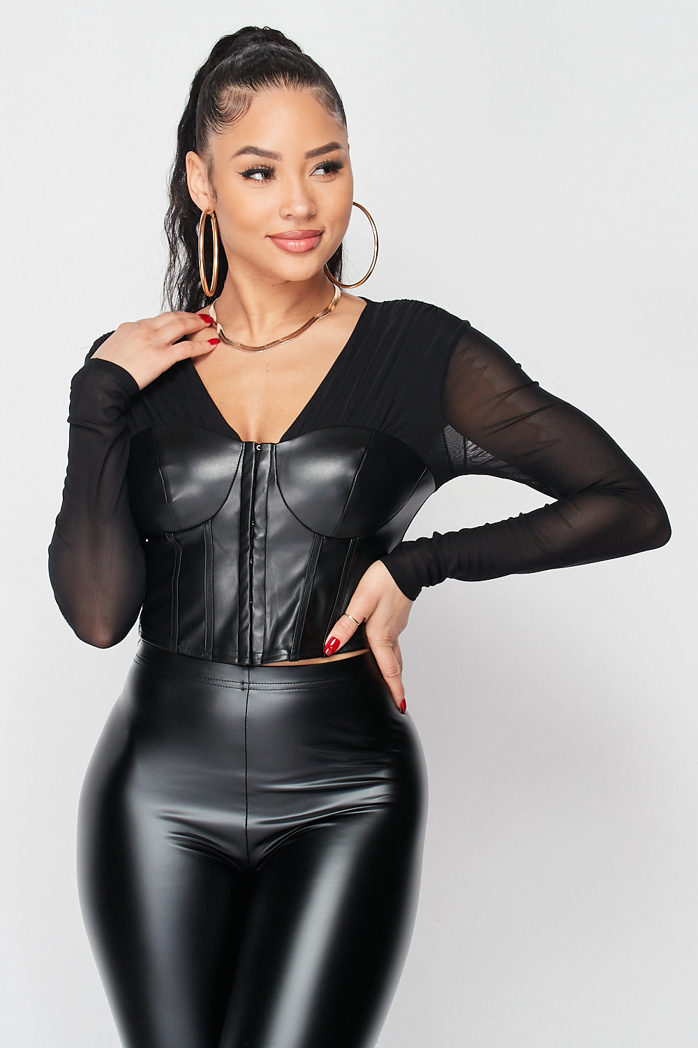 Zip Up PU Corset with Sheer Meshed Sleeves - Fashion House USA